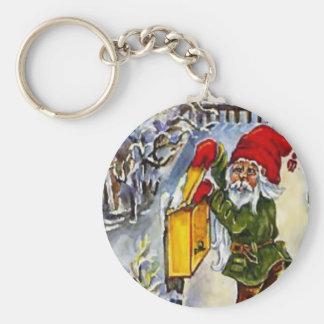 Navidad del vintage, duende en el buzón llavero redondo tipo pin