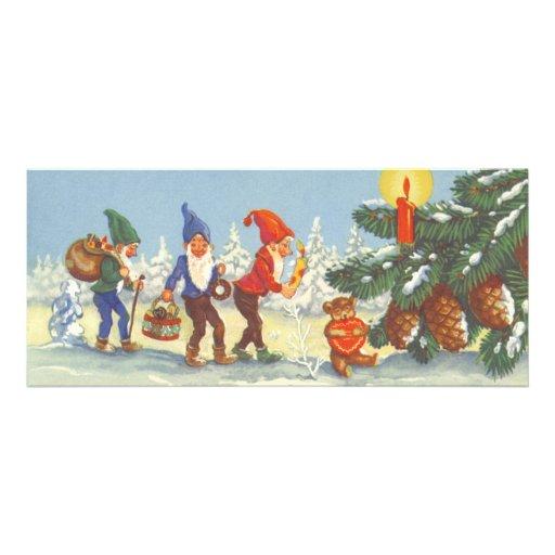 Navidad del vintage, duendes en el invierno del bo anuncios personalizados