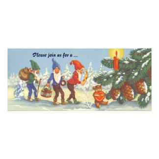 Navidad del vintage, duendes en el invierno del bo invitaciones personalizada