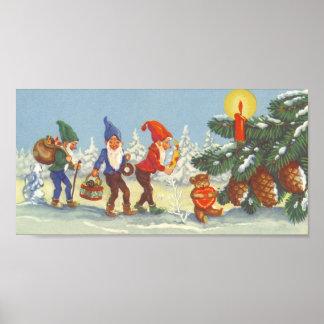 Navidad del vintage, duendes en el invierno del bo posters