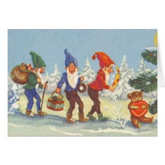 Navidad del vintage, duendes en el invierno del felicitación