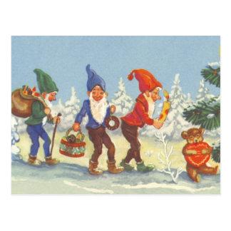 Navidad del vintage, duendes en el invierno del postal