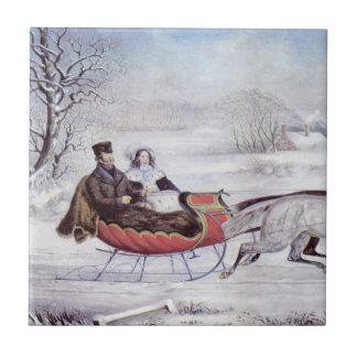 Navidad del vintage, el invierno del camino azulejos ceramicos