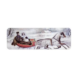 Navidad del vintage, el invierno del camino, etiqueta de remite