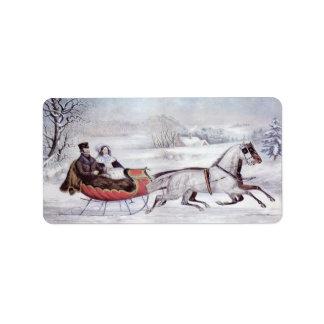 Navidad del vintage, el invierno del camino, etiquetas de dirección