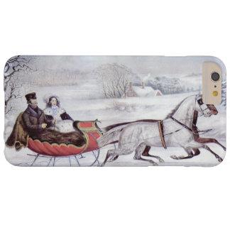 Navidad del vintage, el invierno del camino funda para iPhone 6 plus barely there