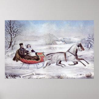 Navidad del vintage, el invierno del camino poster