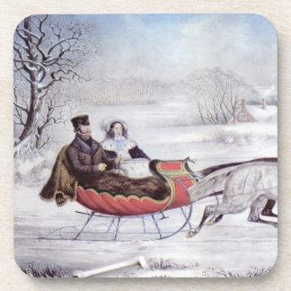 Navidad del vintage, el invierno del camino, posavasos de bebidas