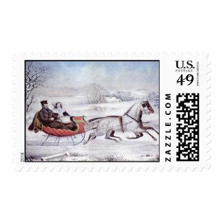 Navidad del vintage el invierno del camino sello