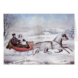 Navidad del vintage, el invierno del camino, tarjeta de felicitación