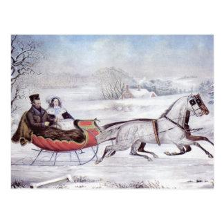 Navidad del vintage, el invierno del camino, tarjeta postal