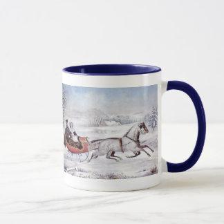 Navidad del vintage, el invierno del camino, taza