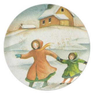 Navidad del vintage el jugar de los niños plato de comida