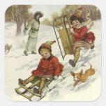 Navidad del vintage, el Sledding de los niños del  Calcomanías Cuadradass