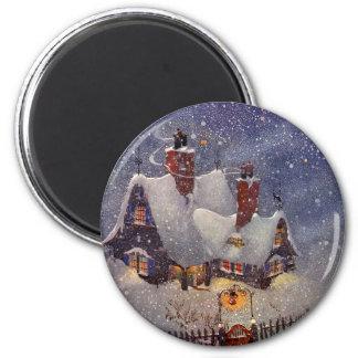 Navidad del vintage, el taller de Santa en Polo Imán Para Frigorifico