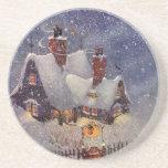 Navidad del vintage, el taller de Santa en Polo No Posavasos Personalizados