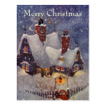 Navidad del vintage, el taller de Santa en Polo No Tarjeta Postal