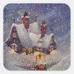 Navidad del vintage, el taller de Santa en Polo Calcomania Cuadrada Personalizada