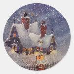 Navidad del vintage, el taller de Santa en Polo Pegatina Redonda