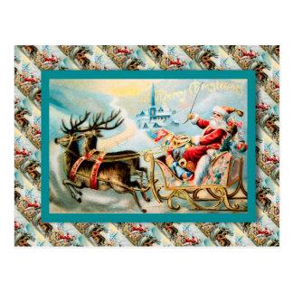 Navidad del vintage, el viaje de Santa por el trin Postal