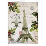 Navidad del vintage en el notecard de París Tarjetón