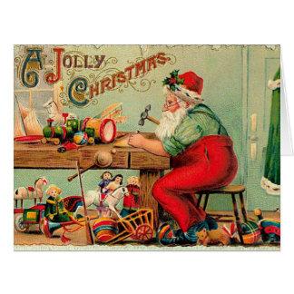 Navidad del vintage en el taller de Santa Tarjeta