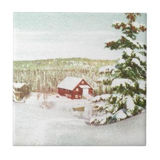 Navidad del vintage en Noruega, 1950 Azulejo Cuadrado Pequeño