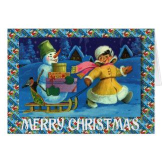 Navidad del vintage, entregando los regalos tarjeta de felicitación