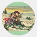 Navidad del vintage - escena del invierno de los n etiquetas
