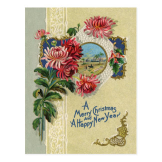 Navidad del vintage/escena floral de Belén del Año Postales