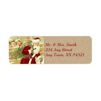 Navidad del vintage etiqueta de remitente