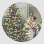 Navidad del vintage, familia del Victorian Etiqueta Redonda