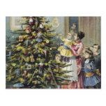 Navidad del vintage, familia del Victorian Tarjeta Postal