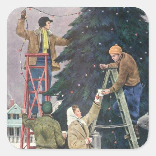 Navidad del vintage, familia que ata luces en pegatina cuadrada