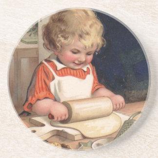 Navidad del vintage - galletas de la hornada del c posavasos diseño