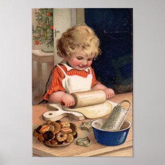 Navidad del vintage - galletas de la hornada del c póster