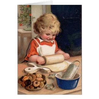 Navidad del vintage - galletas de la hornada del c tarjeta
