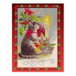 Navidad del vintage, gato del navidad tarjetas postales