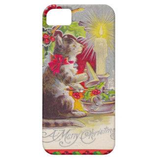 Navidad del vintage, gato entre decoraciones funda para iPhone SE/5/5s