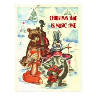 Navidad del vintage, grupo animal de la música postales