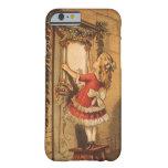 Navidad del vintage, guirnalda colgante del chica funda de iPhone 6 barely there