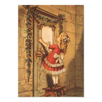 Navidad del vintage, guirnalda colgante del chica invitacion personalizada