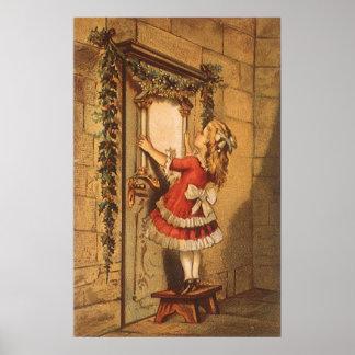 Navidad del vintage, guirnalda colgante del chica poster