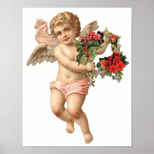 Navidad del vintage, guirnalda floral del ángel de impresiones