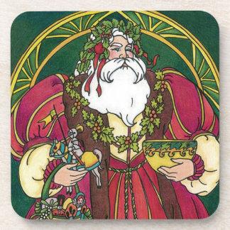 Navidad del vintage, hojas del acebo de Papá Noel Posavaso