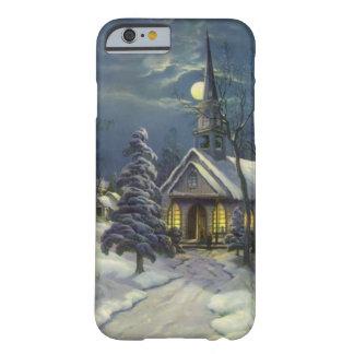 Navidad del vintage, iglesia del invierno en claro funda de iPhone 6 barely there