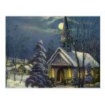 Navidad del vintage, iglesia del invierno en claro postal
