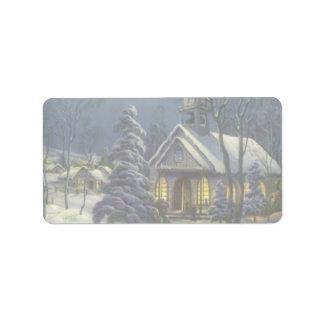 Navidad del vintage iglesia en invierno de la nie etiquetas de dirección