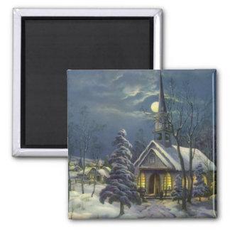 Navidad del vintage, iglesia en invierno de la nie iman de nevera