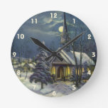 Navidad del vintage, iglesia en invierno de la nie relojes de pared